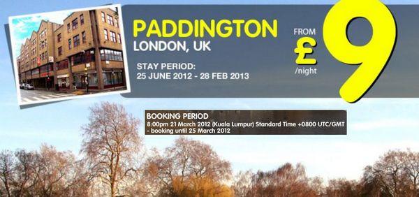 Tune Hotel Paddington Promotion from £9   TuneHotel Promotion